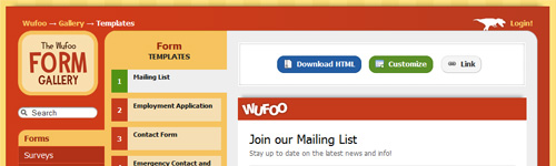Free HTML and CSS Form Templates From Wufoo.com | Webmasters by Design
